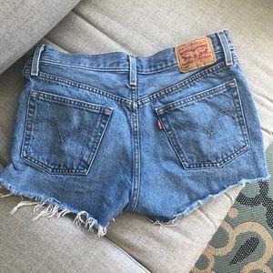 Levi 501 high waisted jean shorts
